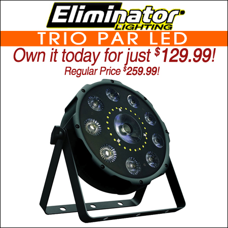 Eliminator Lighting Trio Par LED 3 in 1 Effect Light with Spot, Strobe and Wash