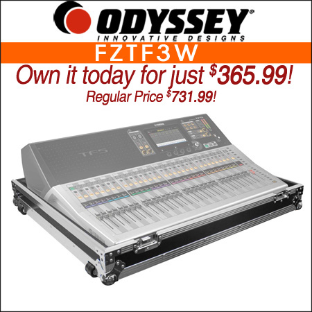 Odyssey FZTF3W Flight Yamaha TF3 Mixing Console Case with Wheels