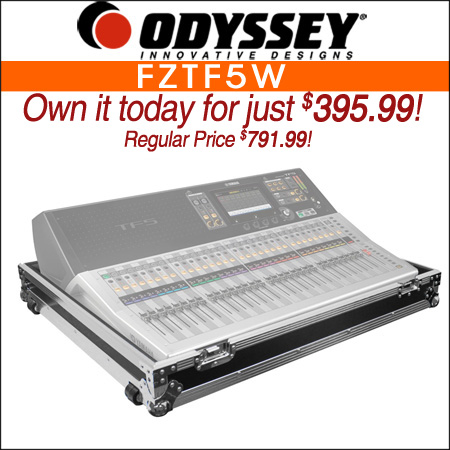 Odyssey FZTF5W Flight Yamaha TF5 Mixing Console Case with Wheels