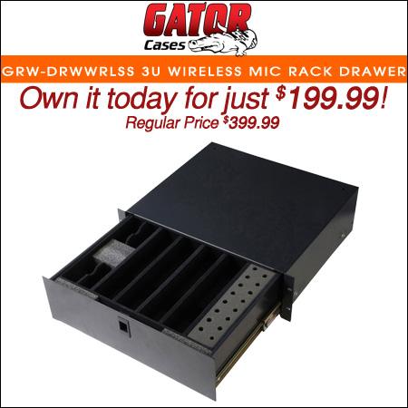 Gator GRW-DRWWRLSS 3U Wireless Mic Rack Drawer