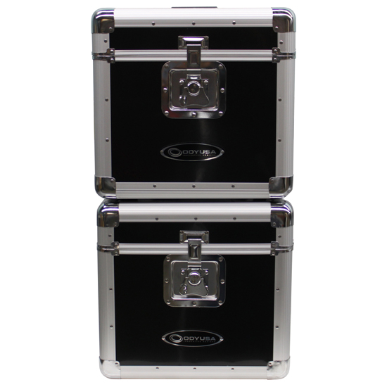 """Odyssey KLP2BLK KROM Series Black Stackable Record/Utility Case for 70 12"""" Vinyl Records & LPs"""