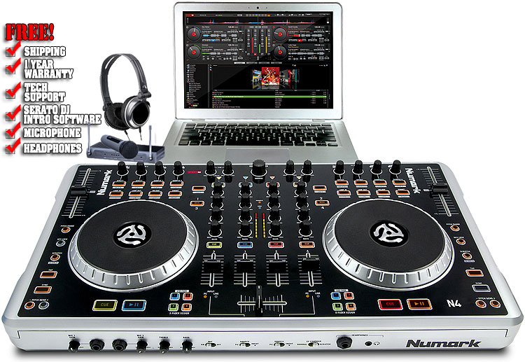 Numark N4 4 Deck Digital DJ Controller and Mixer with