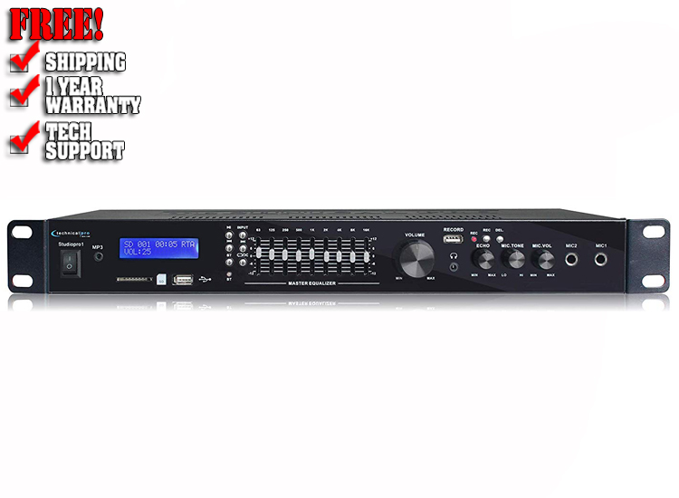 Technical Pro Bluetooth USB/SD Preamp Mixing Recorder w/2 Mic Inputs+9 Band EQ