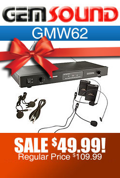 Gemsound GMW62 Wireless Lavalier and Headset Microphone Set