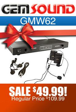 Gemsound GMW62 Wireless Lavalier and Headset Microphone Set