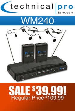 Technical Pro WM240 Wireless Headset and Lavalier Mic System