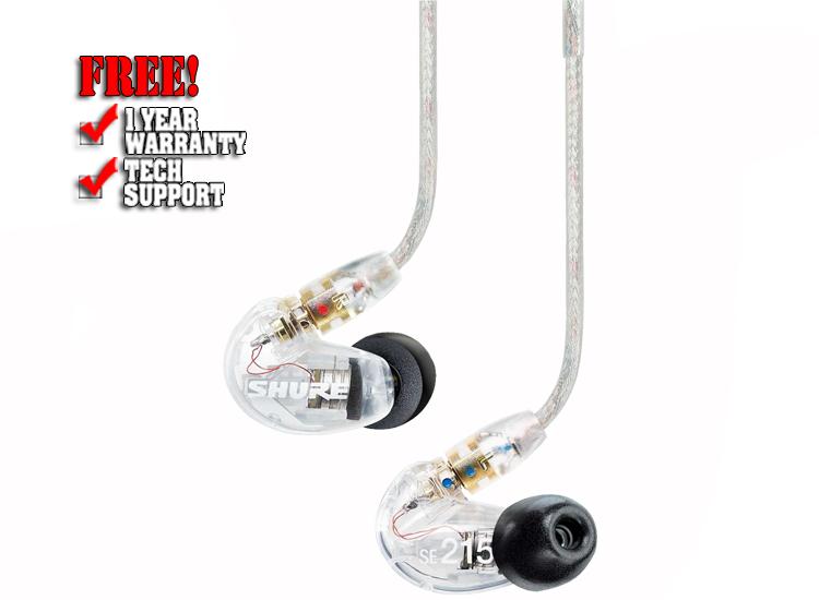 Shure SE215 Isolating In-Ear Earphones Clear