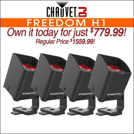 Chauvet Freedom H1 Wireless Battery Powered LED Wash System 4-Pack