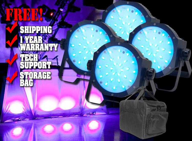 American DJ Mega Go Flood Mobile Pack LED Par Can System with Bag