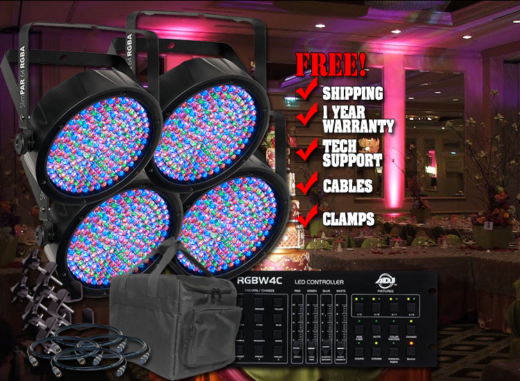 Chauvet Slim 64 Complete Four Pack LED Par Can System with Controller, Bag, Clamps and Cables