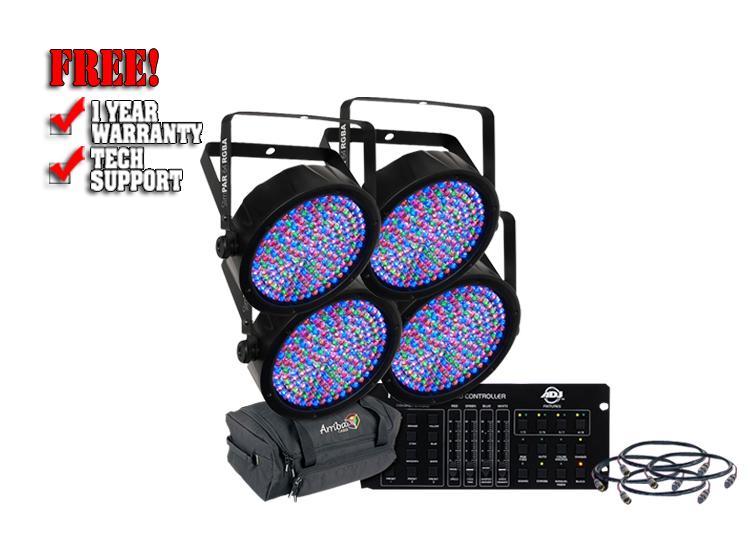 Chauvet SlimPar 64 Complete Uplight LED Par Can System with Controller, Cables and Bag