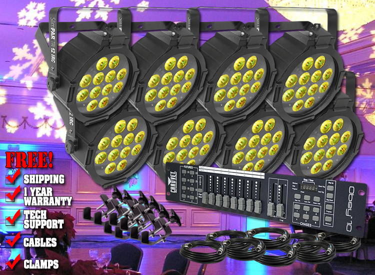 Chauvet SlimPAR Tri 12 IRC Eight Pack Uplighting System