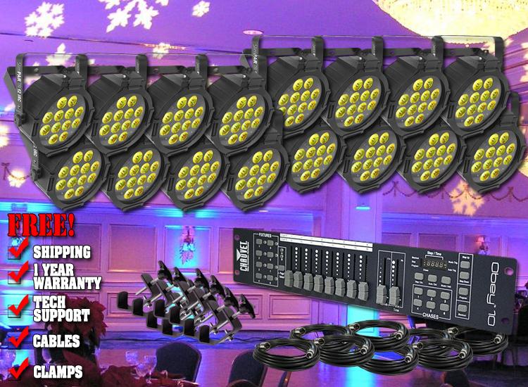Chauvet SlimPAR Tri 12 IRC Sixteen Pack Uplighting System