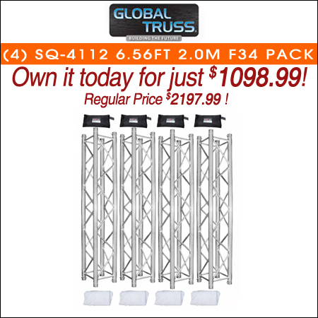 Global Truss SQ-4112 6.56FT 2.0m F34 Square Truss Segments + White Covers 4 Pack