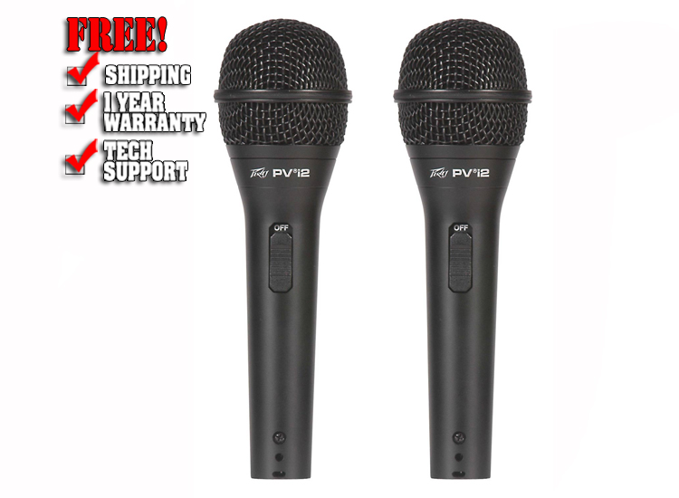 Peavey PVi 2 Cardioid Unidirectional Dynamic Vocal Microphone (2 Pack)