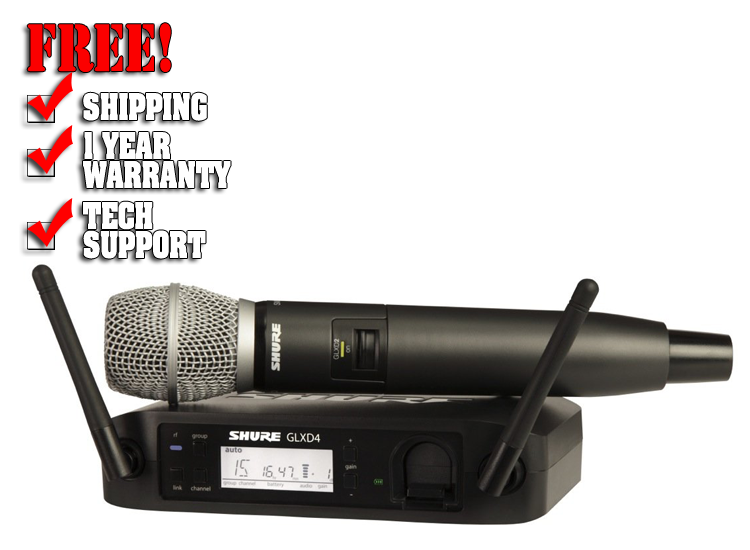 Shure GLXD24/SM86 Digital Handheld Wireless SM86 Microphone System, Band Z2 (2.4 GHz)