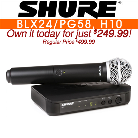 Shure BLX24/PG58 Wireless Handheld Microphone System - H10 Band