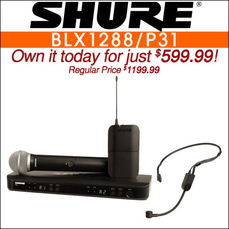 Shure BLX1288/P31 Dual Channel Wireless Microphone w/ PG58