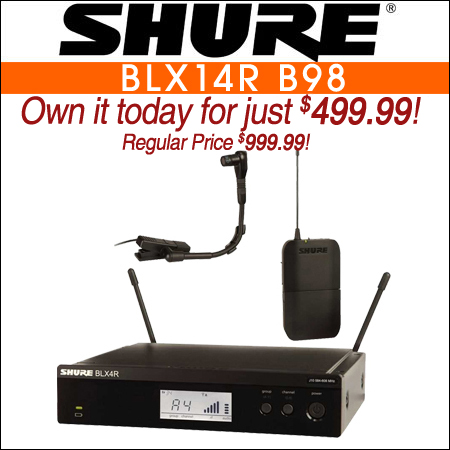 Shure BLX14R B98 Wireless Instrument Microphone