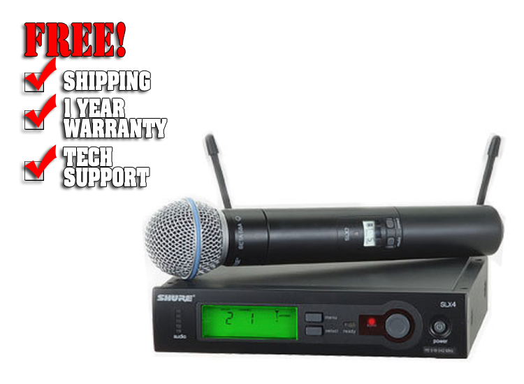 Shure SLX UHF Handheld Microphone Wireless with Beta 58A, Band J3 (572 - 596 MHz)