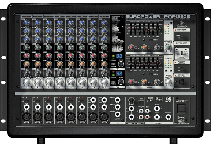 behringer pmp1280s ultra compact 2 x 600 watt stereo powered mixer. Black Bedroom Furniture Sets. Home Design Ideas