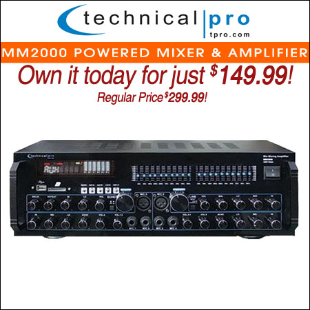 Technical Pro MM2000 Powered Mixer & Amplifier