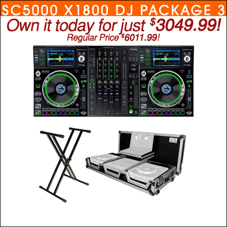 (2) Denon SC5000 Prime Media Players and X1800 Prime 4-Channel Club Mixer with Coffin Case Pro DJ Package