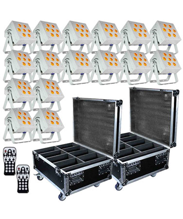 (16) SkyBox EXA White RGBAW+UV Rechargeable Wireless LED Par Lights & Cases Package