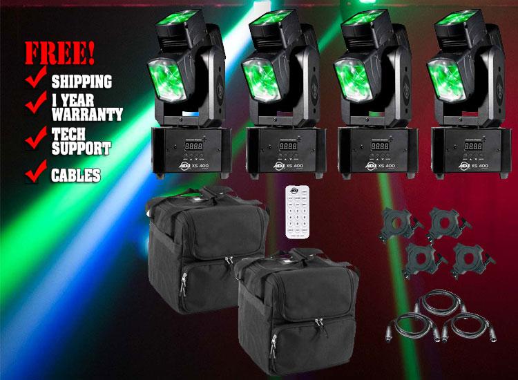 American Dj Xs 400 Tri Lense Moving Head Quad Package
