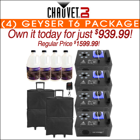 (4) Chauvet DJ Geyser T6 Vertical Fog Machines with Fog Fluid and Carry Cases Package