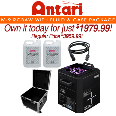 Antari M-9 RGBAW LED Upright High Output Fogger Fog Machine w Fluid & Case