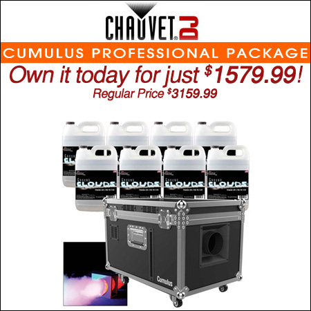 Chauvet DJ Cumulus Professional Low-lying Fog Machine with (8) Gallons of Fog Fluid Package