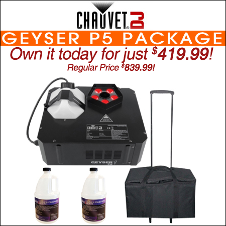 Chauvet DJ Geyser P5 LED Fog Machine with Quick Dissipating Fog Fluid and Rolly Carry Case Package
