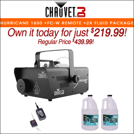 Chauvet DJ H1600 Hurricane 1600 Fog Machine +FC-W Wireless Remote +2x Fluid