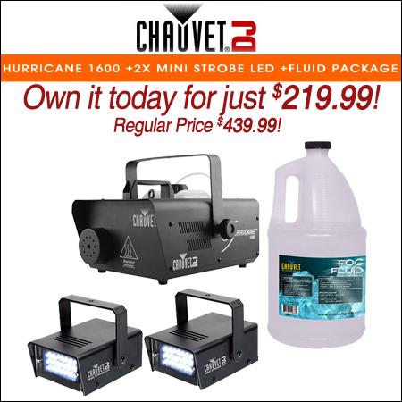 Chauvet DJ Hurricane 1600 H1600 Fog Machine +2x Mini Strobe LED Light +Fluid