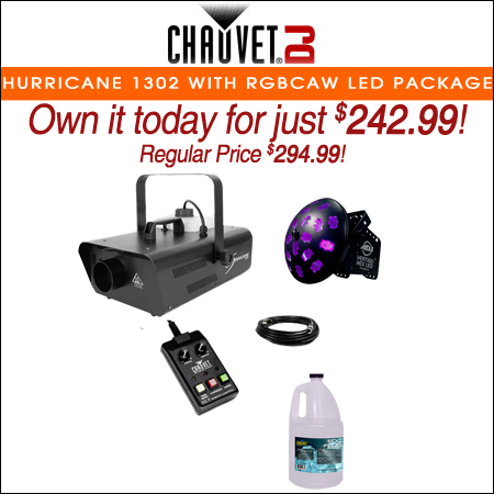 Chauvet DJ Hurricane 1302 Compact Water-Based Fog Machine with RGBCAW LED Effect Light Package