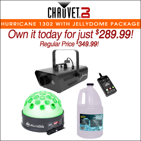 Chauvet DJ Hurricane 1302 Compact Water-Based Fog Machine with Jellydome LED Effect Light Package