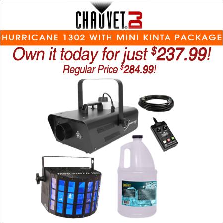 Chauvet DJ Hurricane 1302 Compact Water-Based Fog Machine with Mini Kinta IRC Effect Light Package