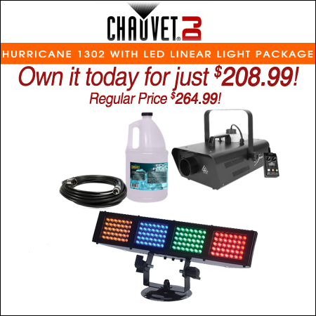 Chauvet DJ Hurricane 1302 Compact Water-Based Fog Machine with LED Linear Wash Light Package