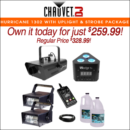 Chauvet DJ Hurricane 1302 Compact Water-Based Fog Machine with LED Uplight & Strobe Lights Package