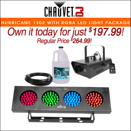 Chauvet DJ Hurricane 1302 Compact Water-Based Fog Machine with RGBA LED Wash Effect Light Package