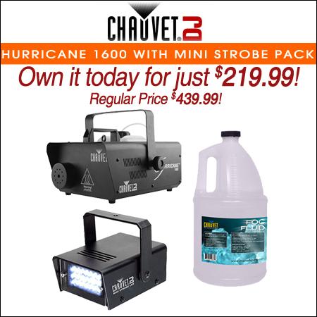 Chauvet DJ Hurricane 1600 H1600 Fog Machine +Mini Strobe LED Light +Fluid Gallon