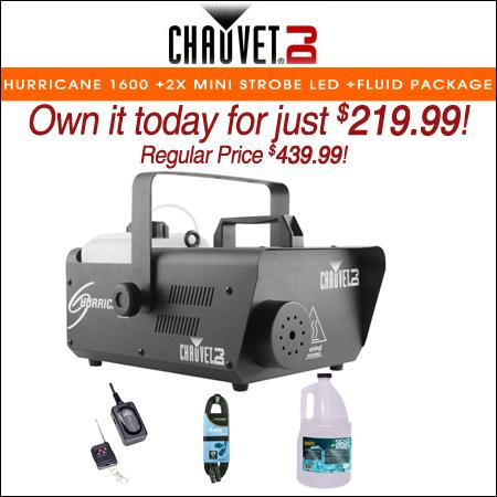 Chauvet DJ Hurricane 1600 H1600 Fog Machine +Wireless Remote +Fluid +DMX Cable