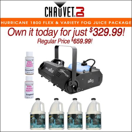 Chauvet DJ Hurricane 1800 Flex DMX Controllable Fog Machine with Variety Fog Juice Package