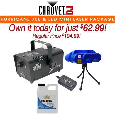 Chauvet DJ Hurricane 700 Fog Machine & LED Mini Laser Package