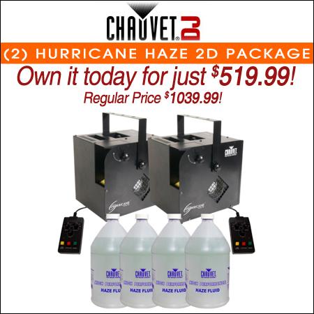 Chauvet DJ Hurricane Haze 2D Haze Machine & 4 Gallons of Hazer Fluid Bundle