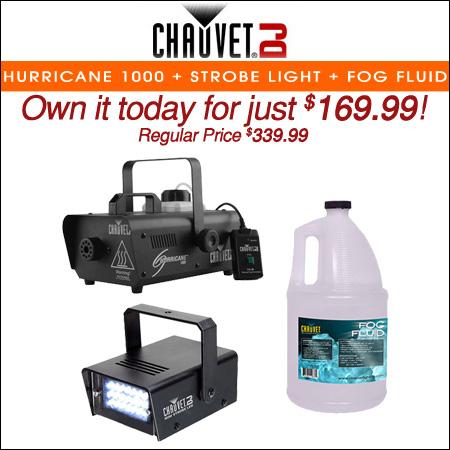 Chauvet DJ Hurricane 1000 + Strobe Light + Fog Fluid