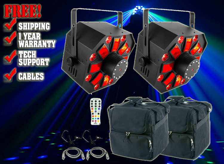Chauvet DJ Swarm Wash FX 4-in-1 LED Effect Light w/Laser & Strobe & Remote Duo Package