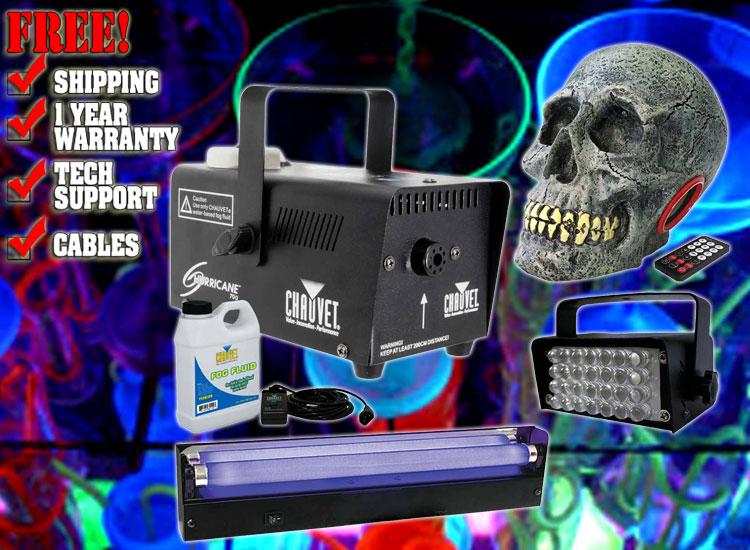 Halloween Blacklight Fog Machine Package 2 Dj Strobe Lights 123dj Com