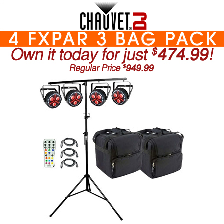 4 Chauvet DJ FXpar 3 Compact Effect Par Lights with Lighting Stand, Remote & Cases Package